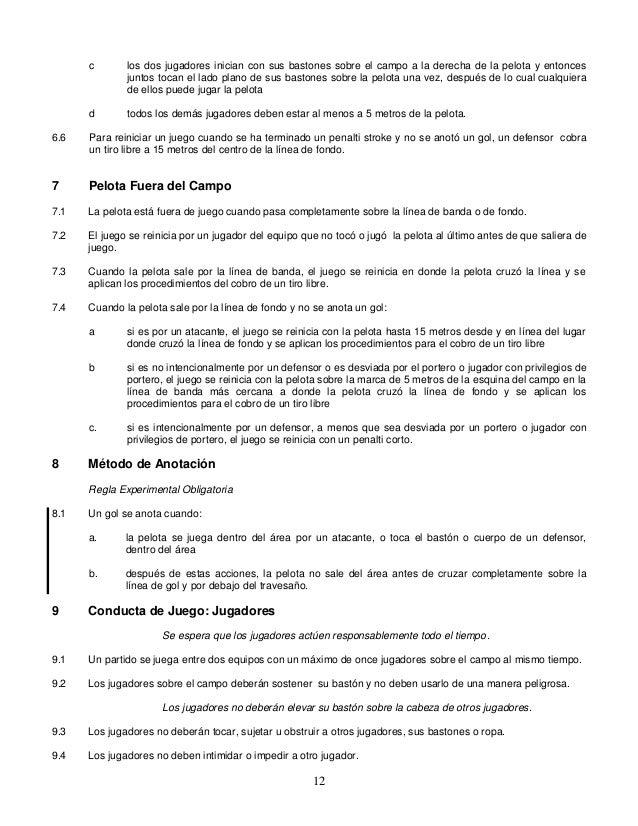 Reglamento Hockey sobre pasto 2013