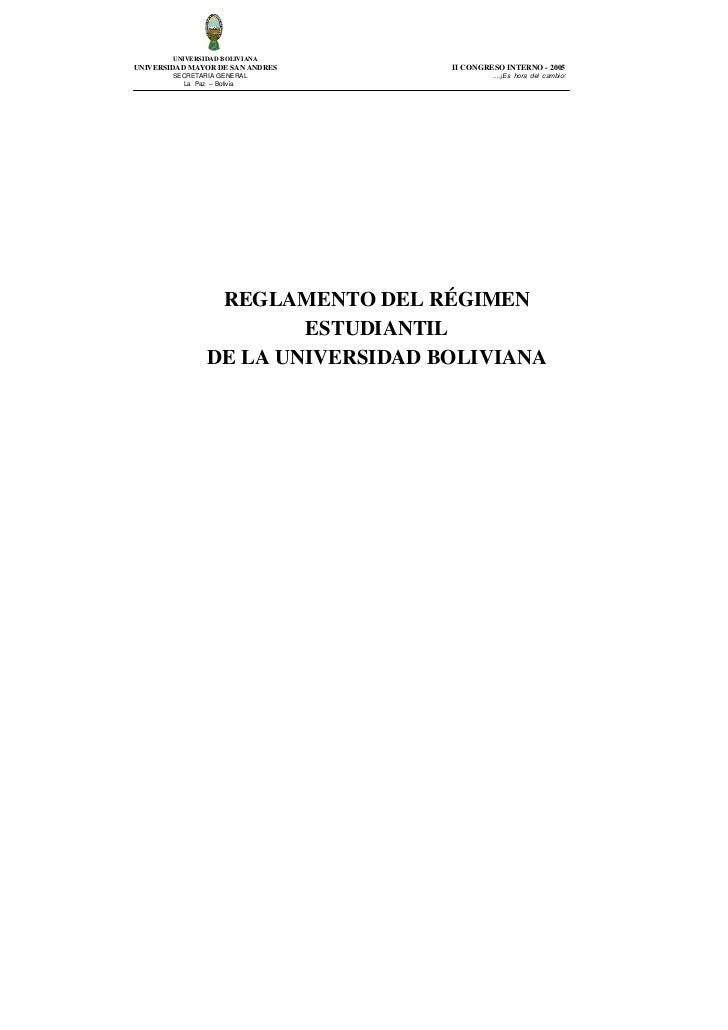 UNIVERSIDAD BOLIVIANAUNIVERSIDAD MAYOR DE SAN ANDRES    II CONGRESO INTERNO - 2005        SECRETARIA GENERAL              ...