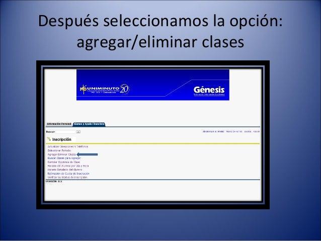 Después seleccionamos la opción:    agregar/eliminar clases