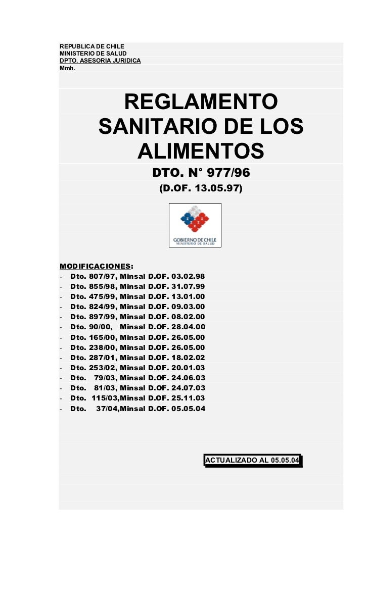 REPUBLICA DE CHILEMINISTERIO DE SALUDDPTO. ASESORIA JURIDICAMmh.            REGLAMENTO          SANITARIO DE LOS          ...