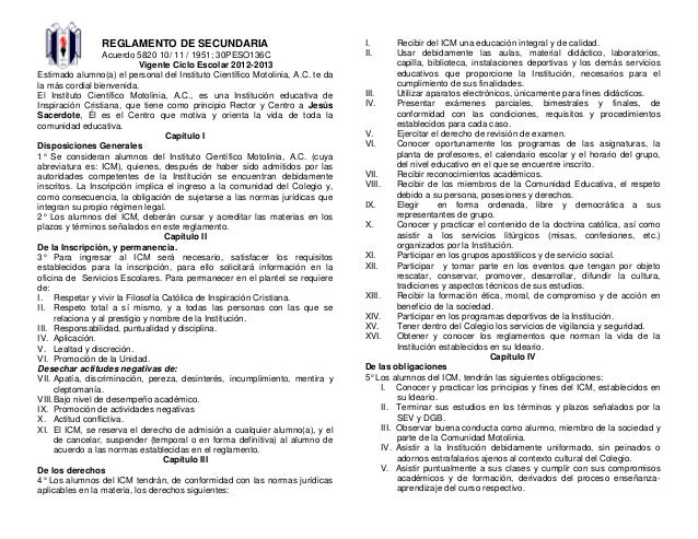 REGLAMENTO DE SECUNDARIA Acuerdo 5820 10/ 11 / 1951; 30PESO136C Vigente Ciclo Escolar 2012-2013 Estimado alumno(a) el pers...