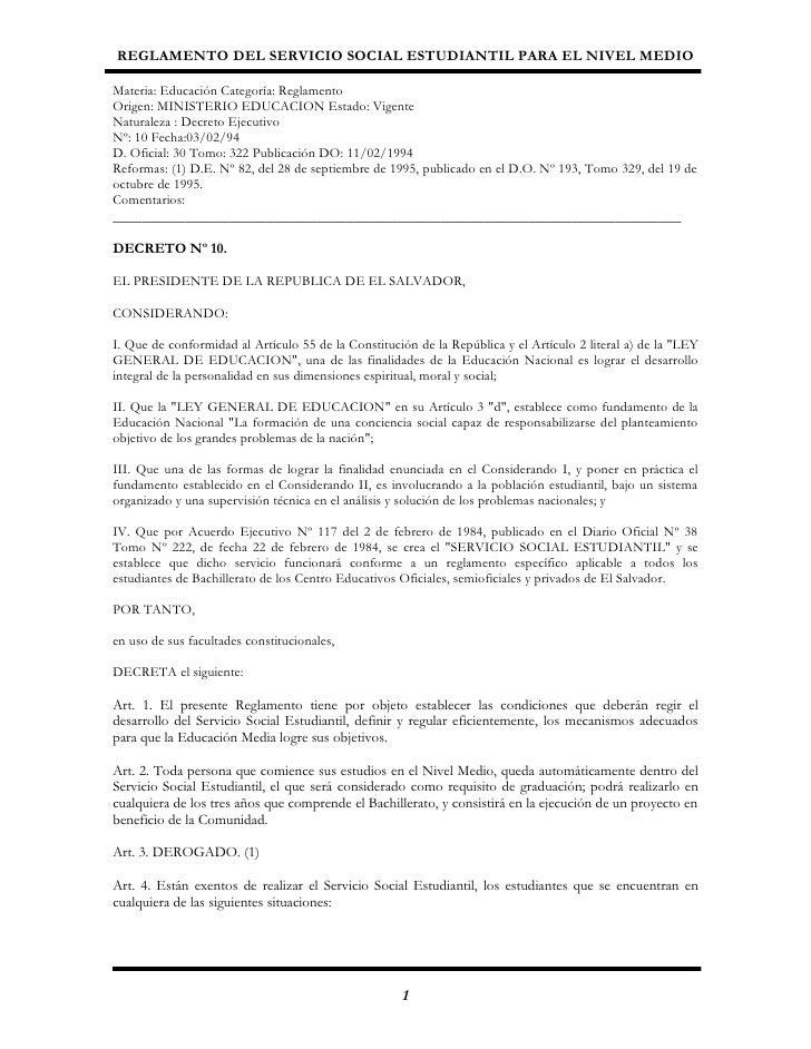 Reglamento Servicio Social Estudiantil