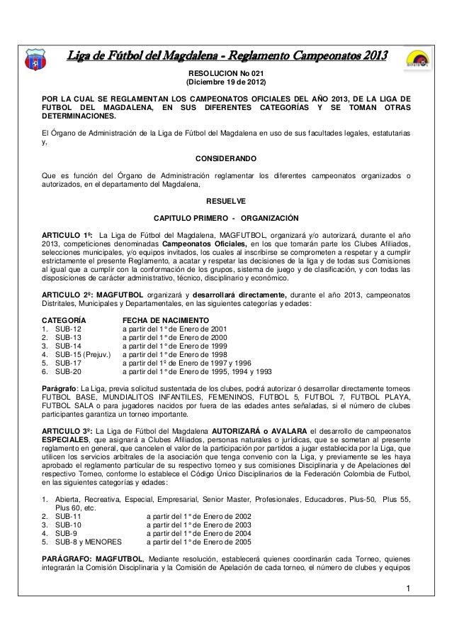 Liga de Fútbol del Magdalena - Reglamento Campeonatos 2013                                                             201...