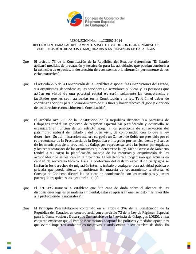 RESOLUCION No………CGREG-2014 REFORMA INTEGRAL AL REGLAMENTO SUSTITUTIVO DE CONTROL E INGRESO DE VEHÍCULOS MOTORIZADOS Y MAQU...