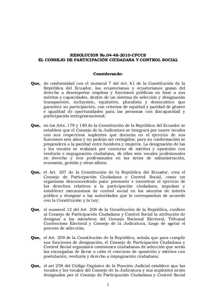 RESOLUCION No.04-48-2010-CPCCS   EL CONSEJO DE PARTICIPACIÓN CIUDADANA Y CONTROL SOCIAL                               Cons...