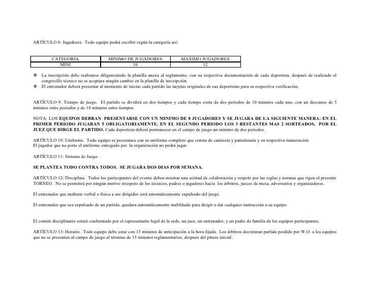 Reglamento y planilla de inscripcion torneo mini baloncesto