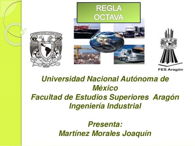 Universidad Nacional Autónoma de México Facultad de Estudios Superiores Aragón Ingeniería Industrial Presenta: Martínez Mo...