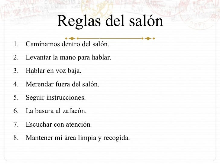 Reglas dentro y fuera del sal n de clase for 5 reglas del salon de clases