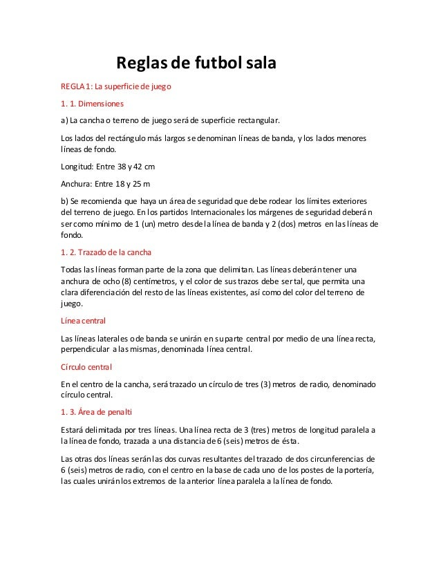 el futbol de salon y sus reglas