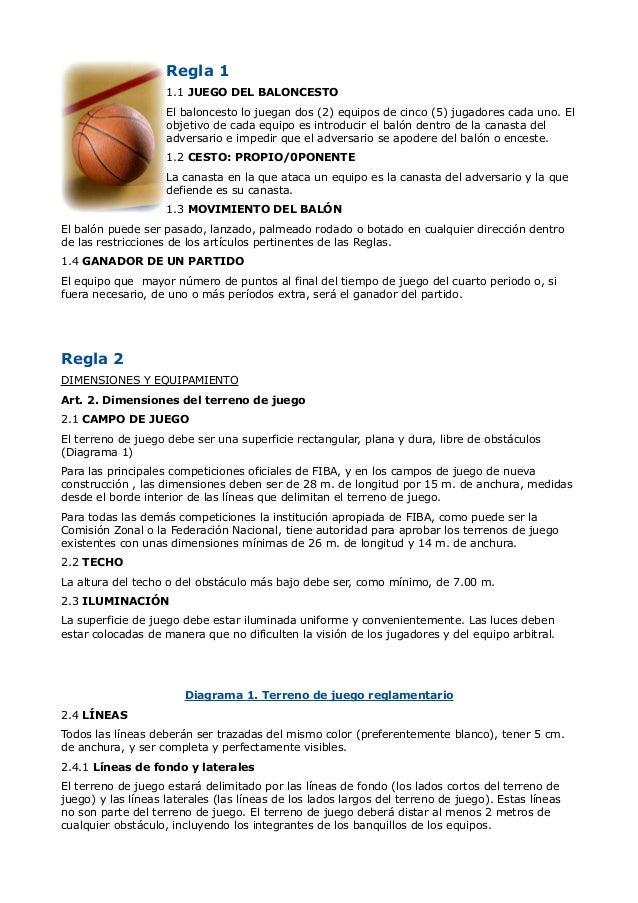 Regla 1                    1.1 JUEGO DEL BALONCESTO                    El baloncesto lo juegan dos (2) equipos de cinco (5...
