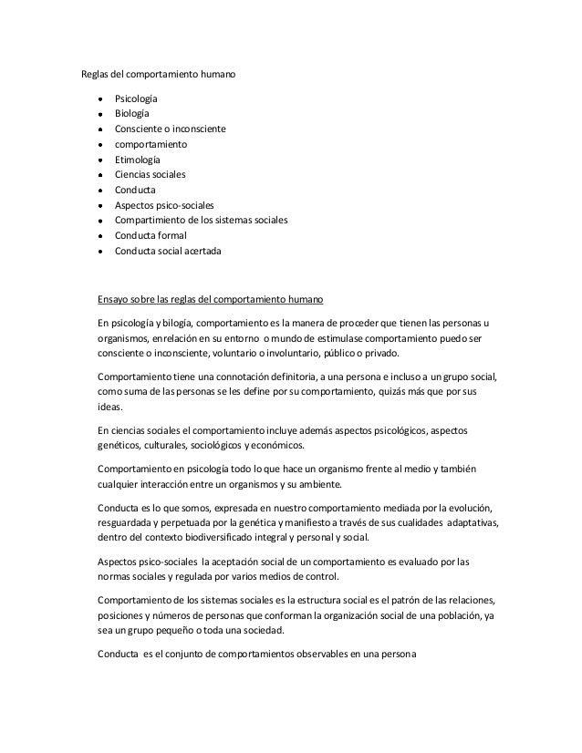 Reglas del comportamiento humano Psicología Biología Consciente o inconsciente comportamiento Etimología Ciencias sociales...