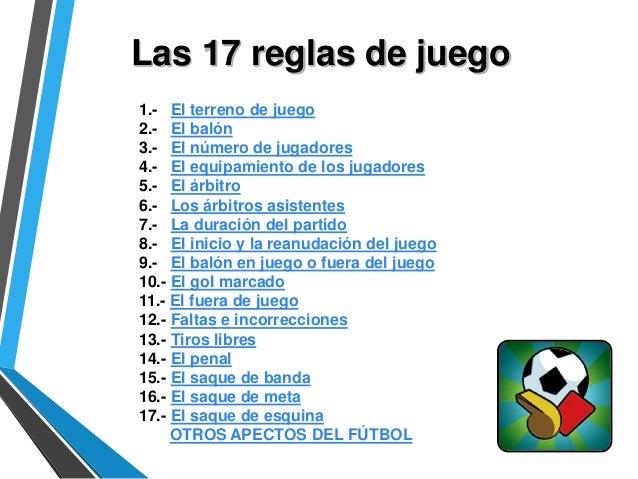 Reglas del f tbol for 10 reglas del futbol de salon