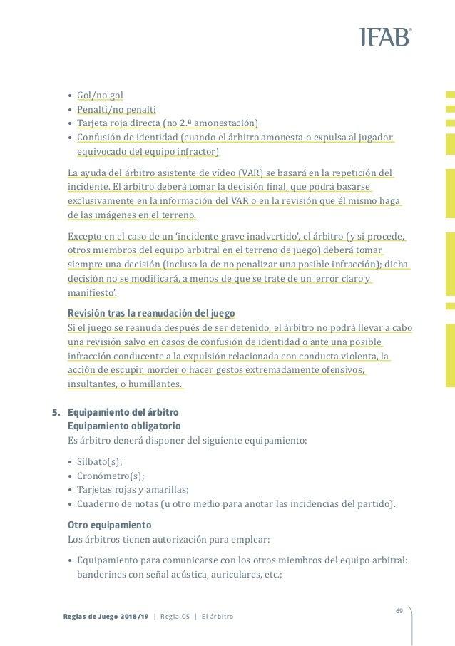 Reglamento de futbol 2018-2019