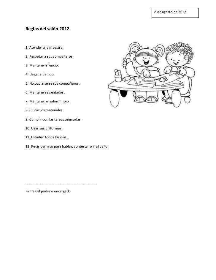 Reglas del sal n 2012 for 5 reglas del salon de clases