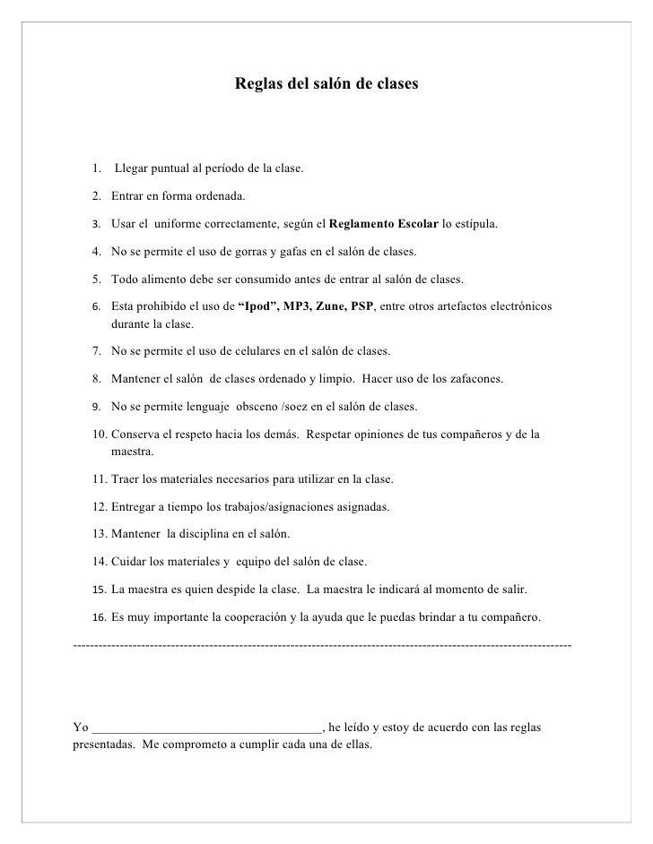 reglas del sal n de clases