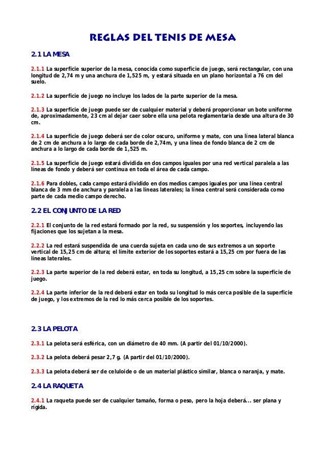 reglas del tenis de mesa resumidas