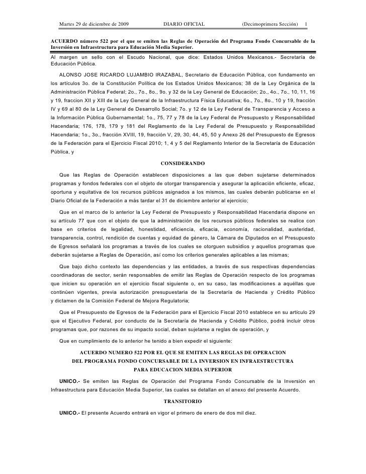 Martes 29 de diciembre de 2009                DIARIO OFICIAL                     (Decimoprimera Sección)    1   ACUERDO nú...