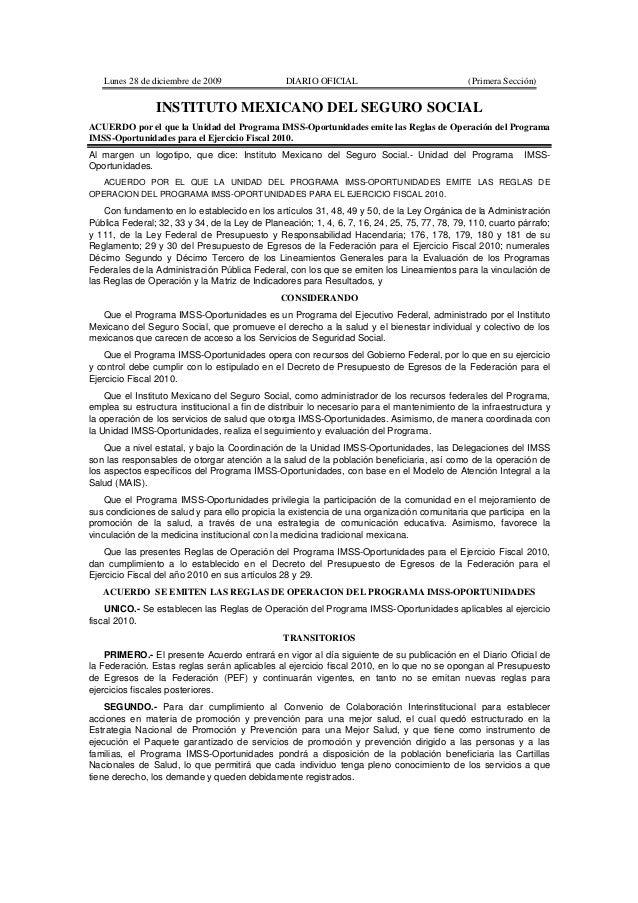 Lunes 28 de diciembre de 2009                 DIARIO OFICIAL                               (Primera Sección)              ...