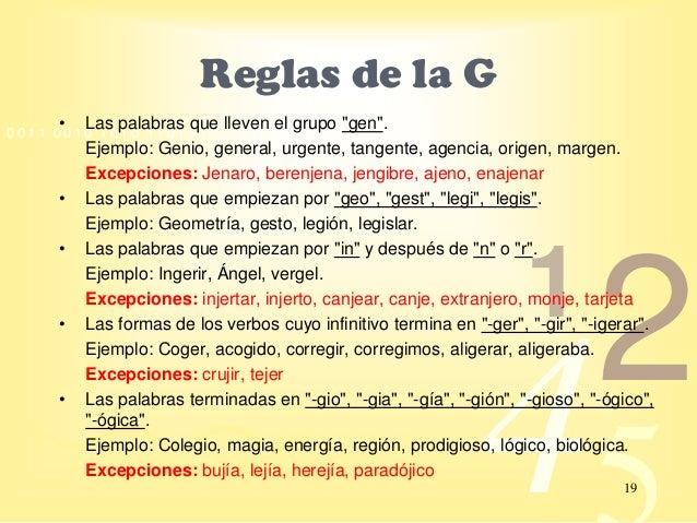 Resultado de imagen para reglas ortograficas de la g