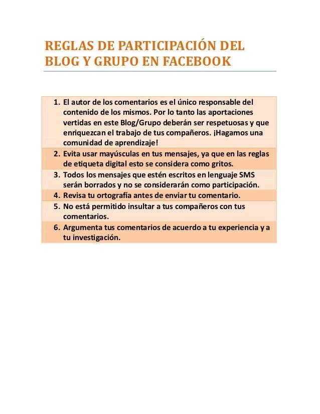 Reglas de participaci n del blog y grupo en facebook for Grupo facebook