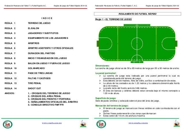 Reglas futbol rapido 2014 16 finales for Regla fuera de juego futbol