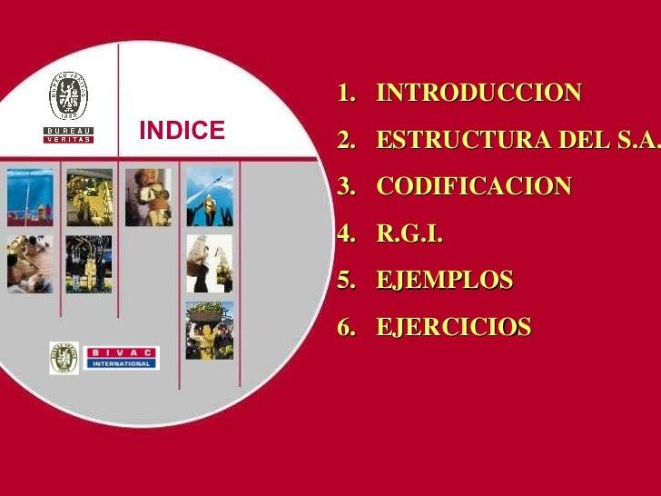 Presentation title INDICE 1.  INTRODUCCION  2.  ESTRUCTURA DEL S.A. 3.  CODIFICACION 4.  R.G.I. 5.  EJEMPLOS 6.  EJERCICIOS