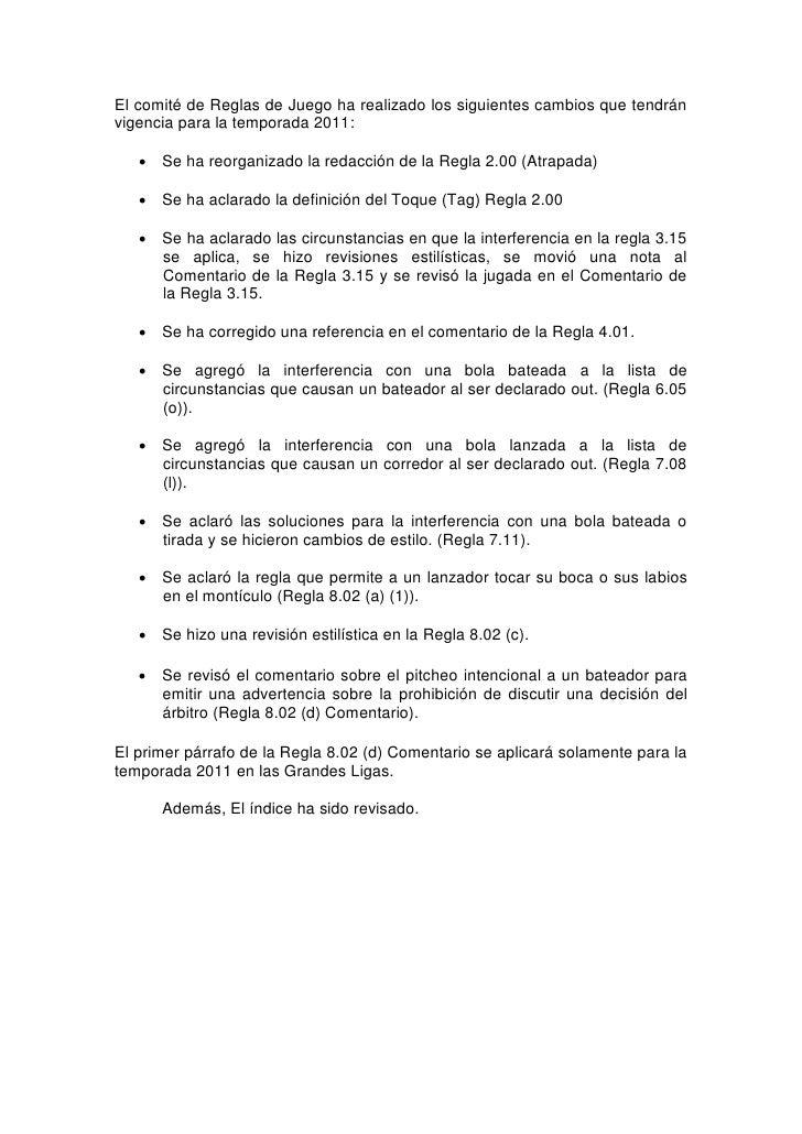 Reglas Oficiales de Béisbol 2011 Slide 2