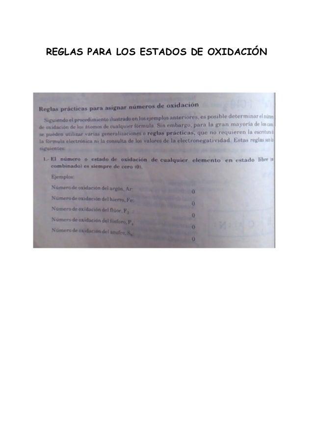 REGLAS PARA LOS ESTADOS DE OXIDACIÓN