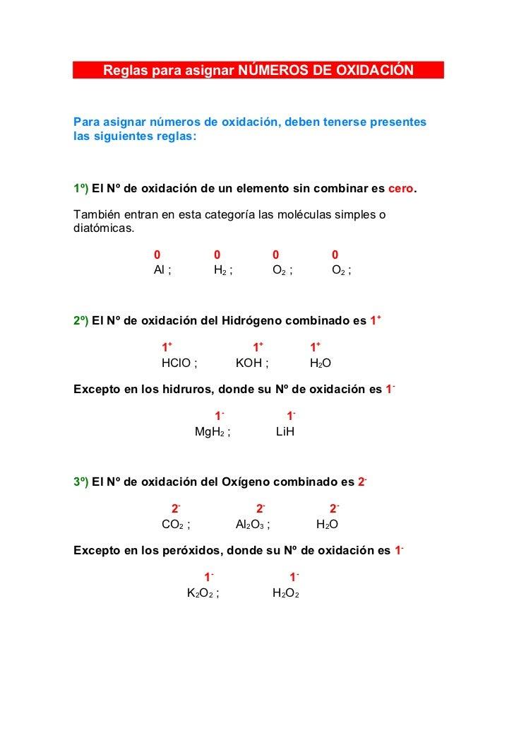 Reglas para asignar nmeros de oxidacin reglas para asignar nmeros de oxidacin para asignar nmeros de oxidacin deben tenerse presentes las urtaz Image collections
