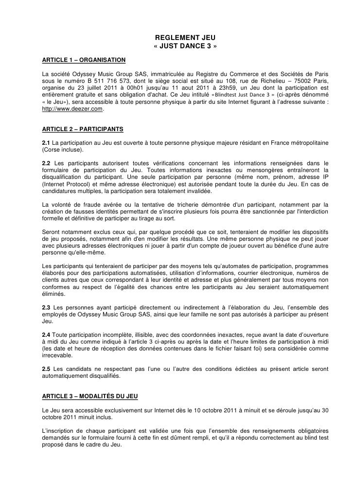 REGLEMENT JEU                                           « JUST DANCE 3 »ARTICLE 1 – ORGANISATIONLa société Odyssey Music G...