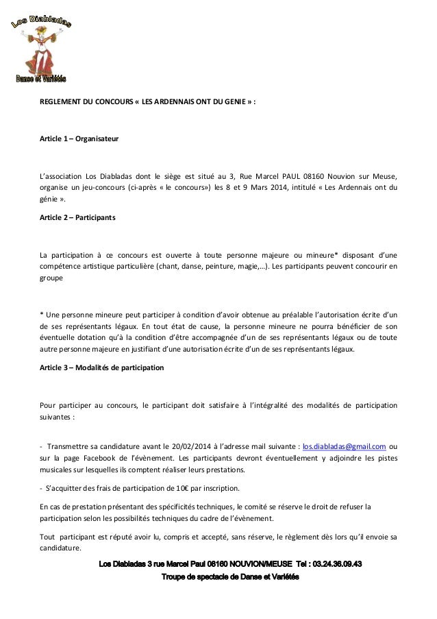 REGLEMENT DU CONCOURS « LES ARDENNAIS ONT DU GENIE » :  Article 1 – Organisateur  L'association Los Diabladas dont le sièg...