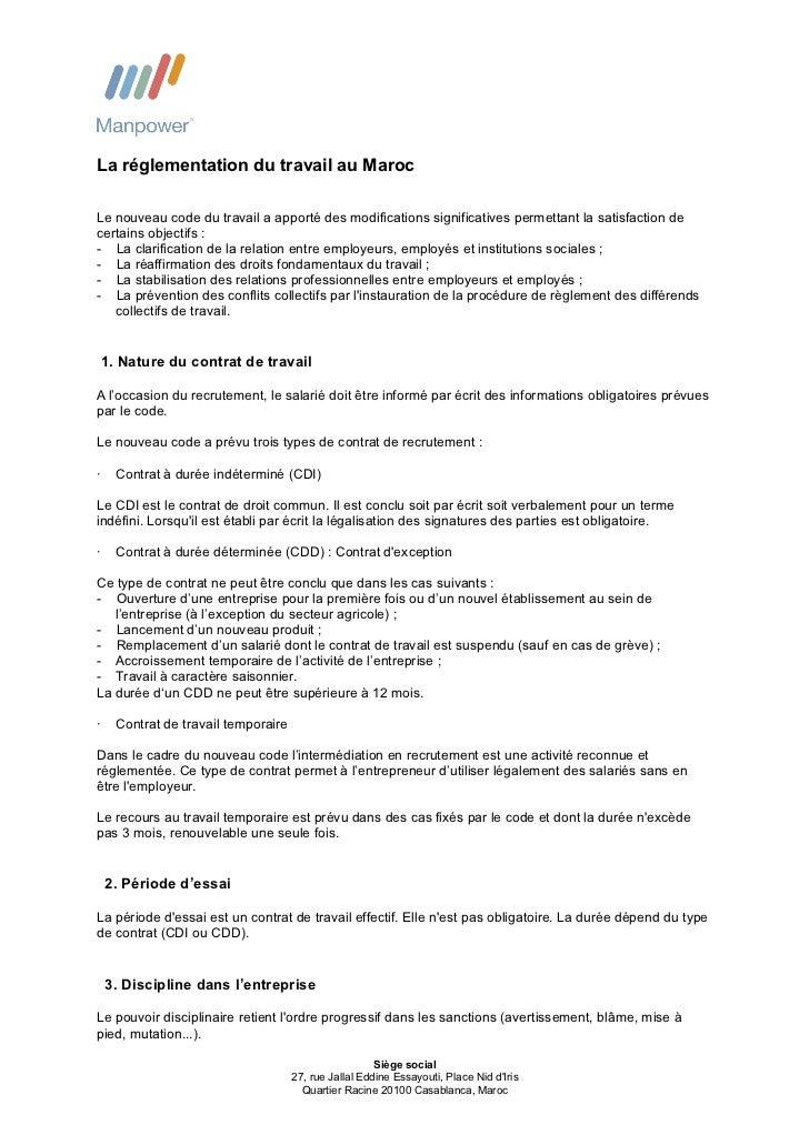 La réglementation du travail au MarocLe nouveau code du travail a apporté des modifications significatives permettant la s...