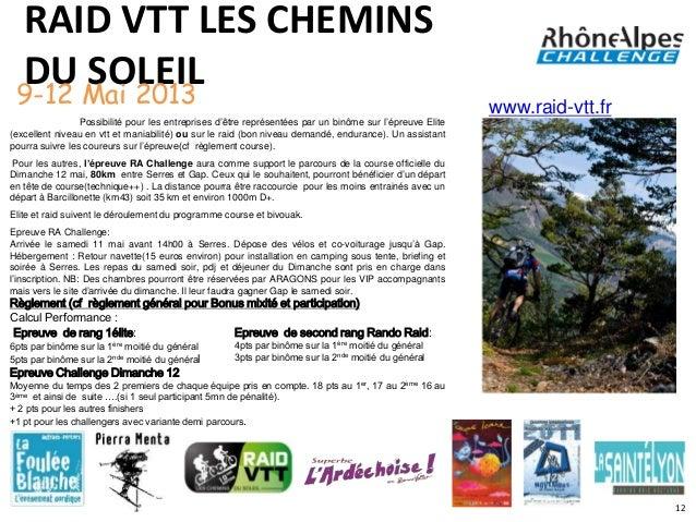 RAID VTT LES CHEMINS DU Mai 2013 9-12      SOLEIL                                                                         ...