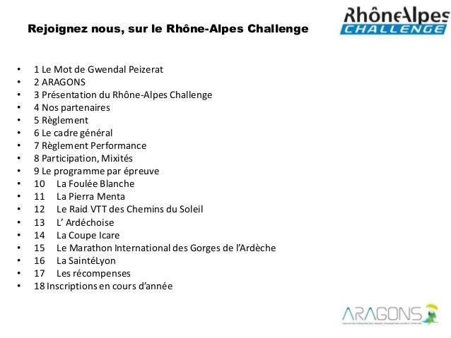 Rejoignez nous, sur le Rhône-Alpes Challenge•   1 Le Mot de Gwendal Peizerat•   2 ARAGONS•   3 Présentation du Rhône-Alpes...