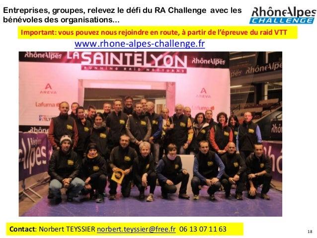 Entreprises, groupes, relevez le défi du RA Challenge avec lesbénévoles des organisations...    Important: vous pouvez nou...