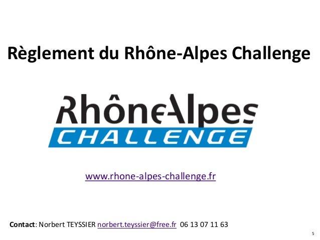 Règlement du Rhône-Alpes Challenge                      www.rhone-alpes-challenge.frContact: Norbert TEYSSIER norbert.teys...