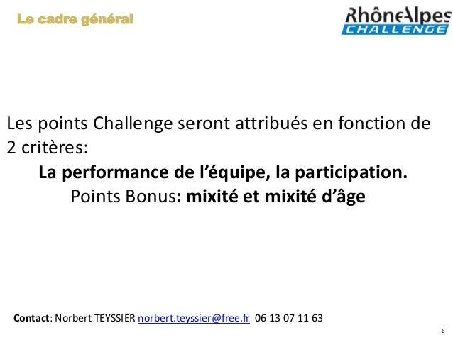 Le cadre généralLes points Challenge seront attribués en fonction de2 critères:    La performance de l'équipe, la particip...