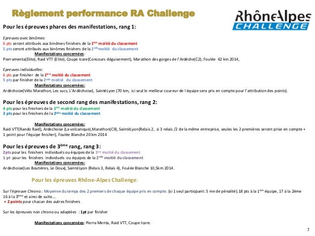 Règlement performance RA ChallengePour les épreuves phares des manifestations, rang 1:Epreuves avec binômes:6 pts seront a...