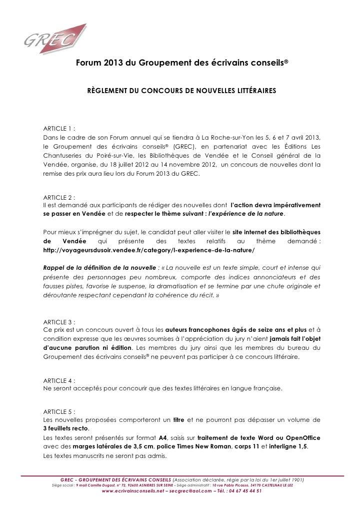Forum 2013 du Groupement des écrivains conseils®                       RÈGLEMENT DU CONCOURS DE NOUVELLES LITTÉRAIRESARTIC...