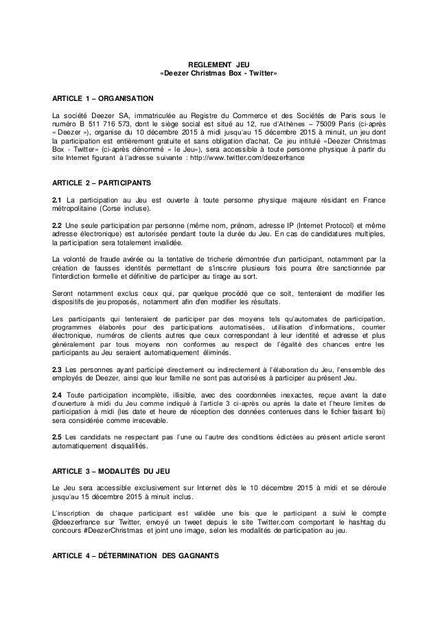 REGLEMENT JEU «Deezer Christmas Box - Twitter» ARTICLE 1 – ORGANISATION La société Deezer SA, immatriculée au Registre du ...