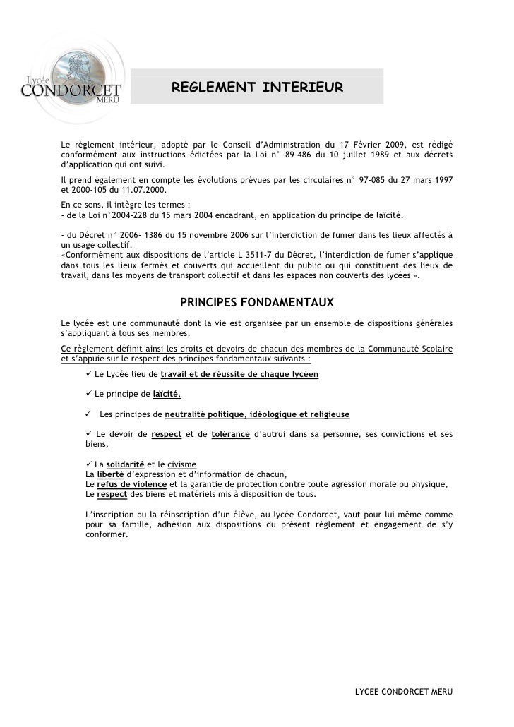REGLEMENT INTERIEUR    Le règlement intérieur, adopté par le Conseil d'Administration du 17 Février 2009, est rédigé confo...