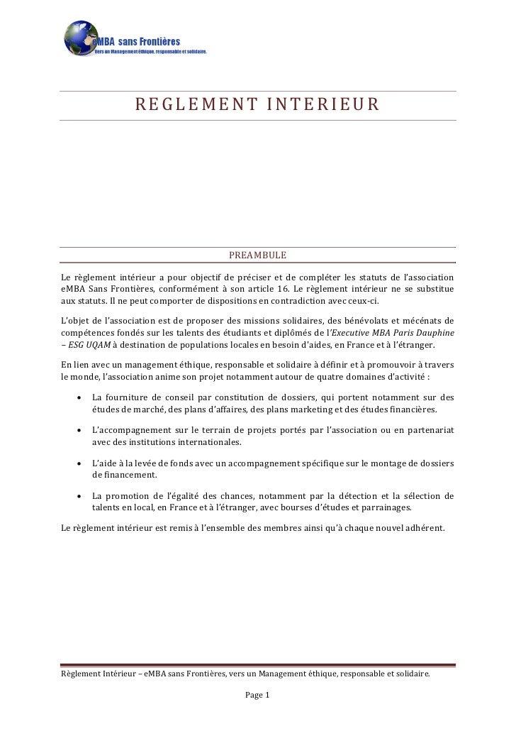 REGLEMENT INTERIEUR                                                 PREAMBULE  Le règlement intérieur a pour objectif de p...