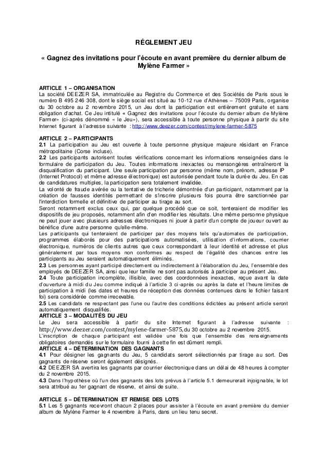 RÉGLEMENT JEU « Gagnez des invitations pour l'écoute en avant première du dernier album de Mylène Farmer » ARTICLE 1 – ORG...