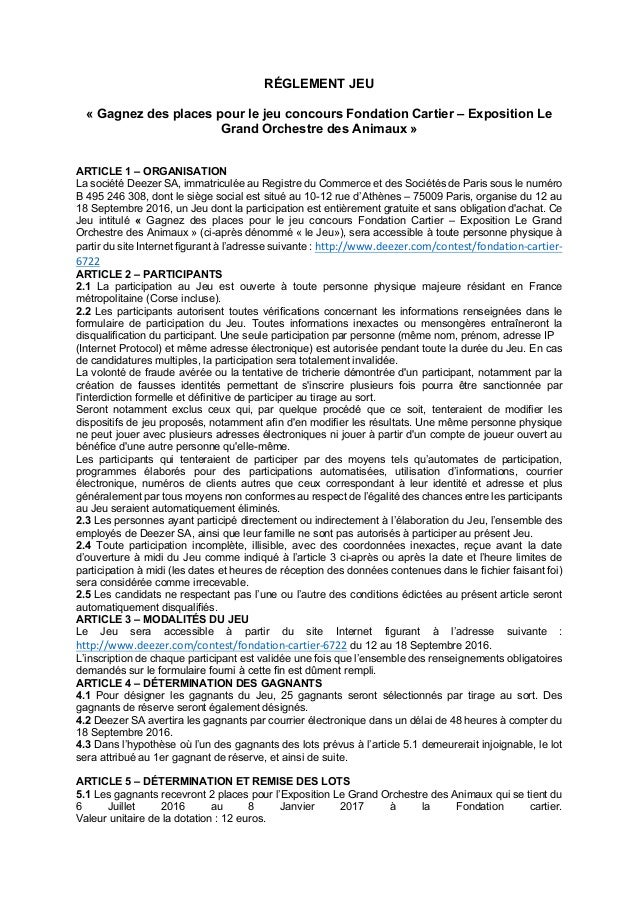 RÉGLEMENT JEU « Gagnez des places pour le jeu concours Fondation Cartier – Exposition Le Grand Orchestre des Animaux » ART...