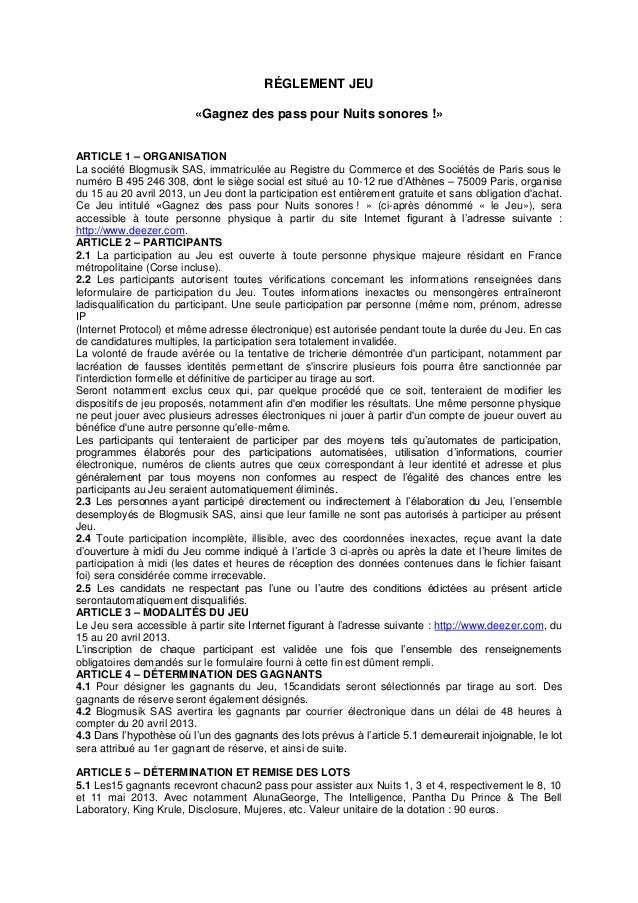 RÉGLEMENT JEU                         «Gagnez des pass pour Nuits sonores !»ARTICLE 1 – ORGANISATIONLa société Blogmusik S...