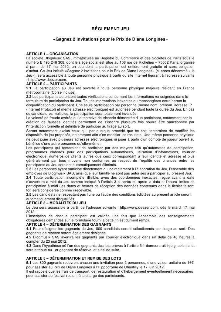 RÉGLEMENT JEU                «Gagnez 2 invitations pour le Prix de Diane Longines»ARTICLE 1 – ORGANISATIONLa société Blogm...