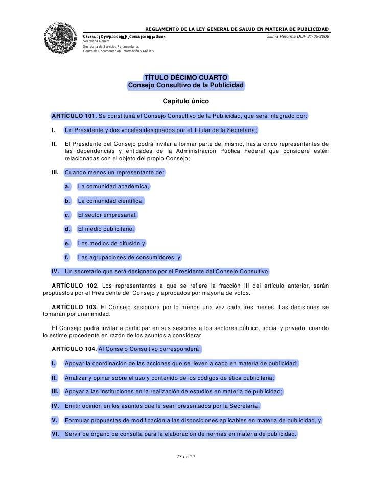 Reglamento de la ley federal de salud en materia de publicidad