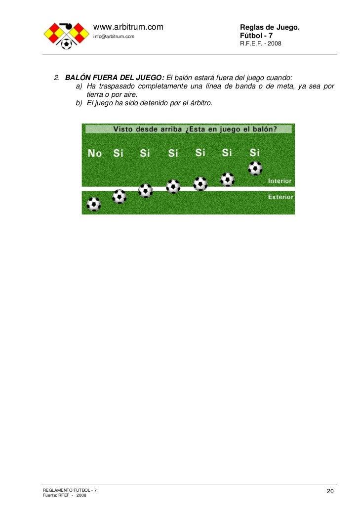 Reglamento f tbol 7 for Regla de fuera de juego en futbol