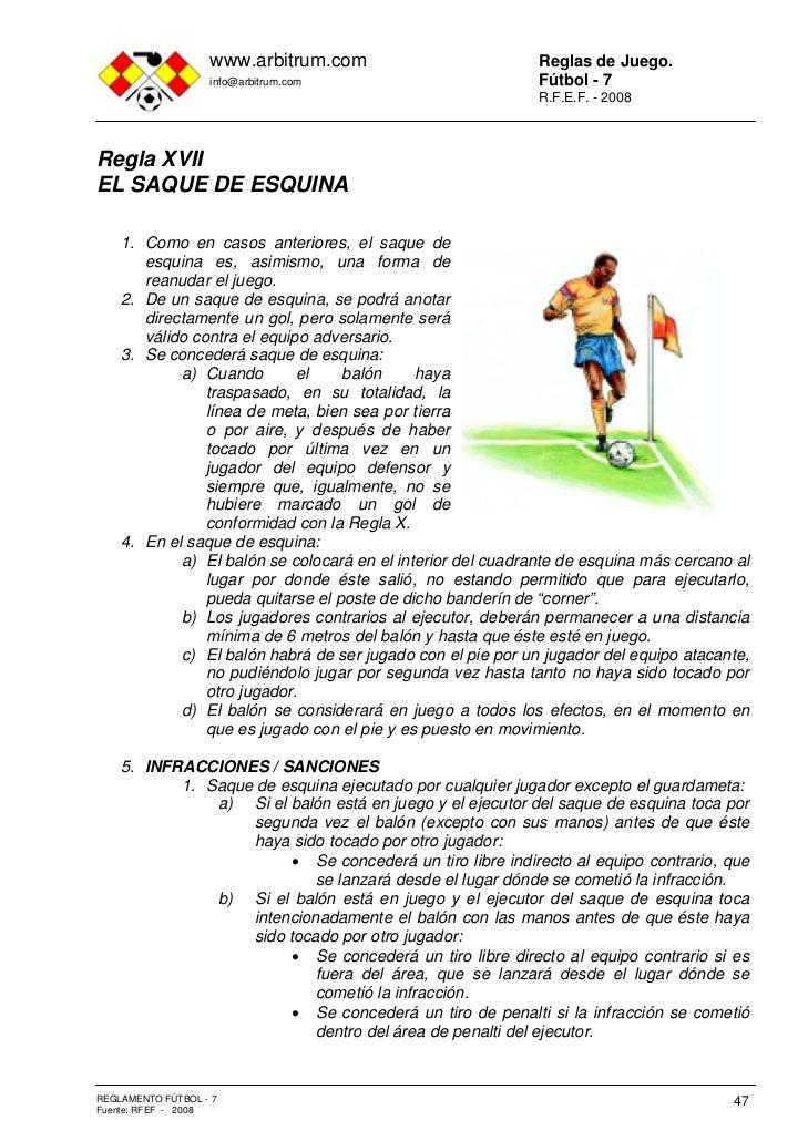 Reglamento f tbol 7 for Cuando es fuera de lugar futbol