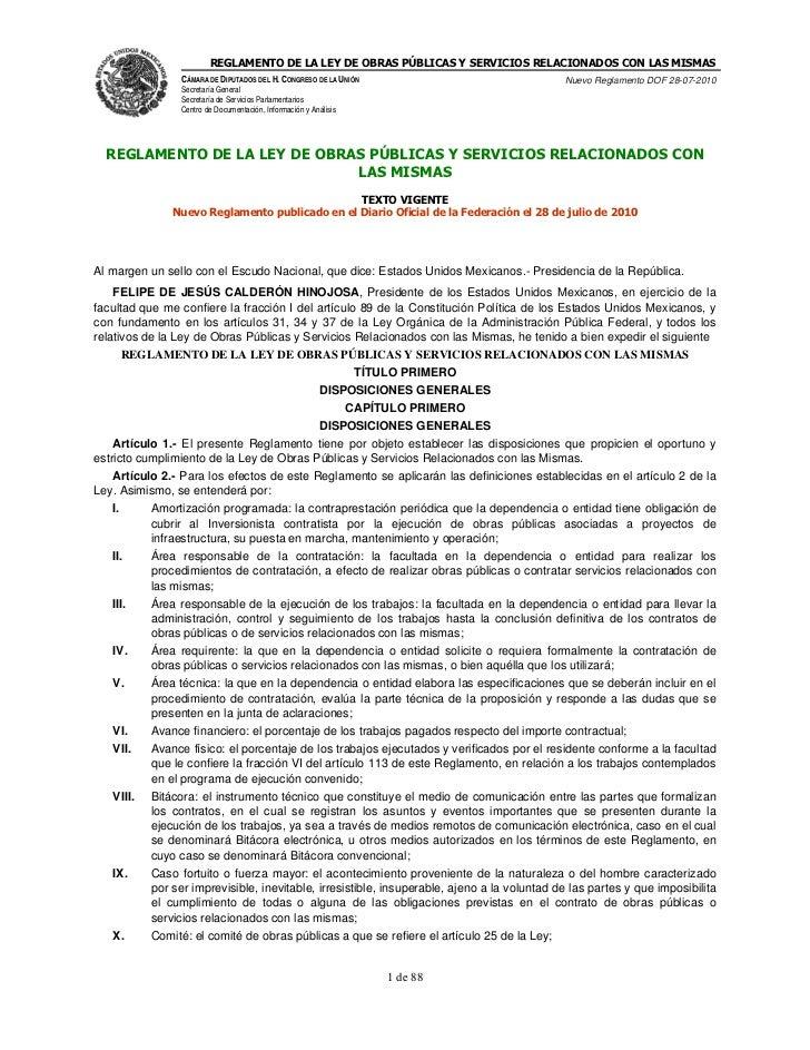 REGLAMENTO DE LA LEY DE OBRAS PÚBLICAS Y SERVICIOS RELACIONADOS CON LAS MISMAS                 CÁMARA DE DIPUTADOS DEL H. ...
